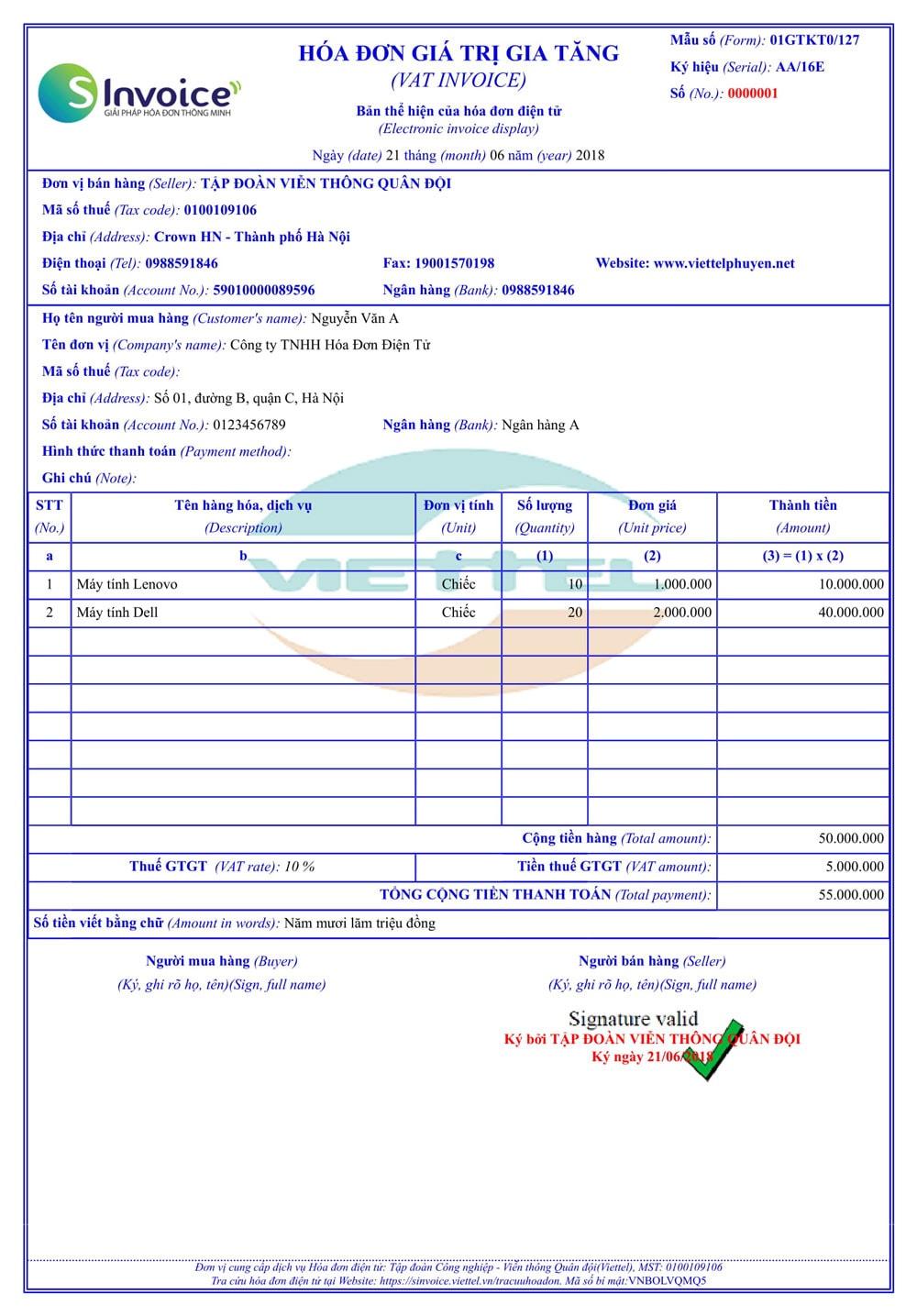 Mẫu hóa đơn điện tử Viettel 8