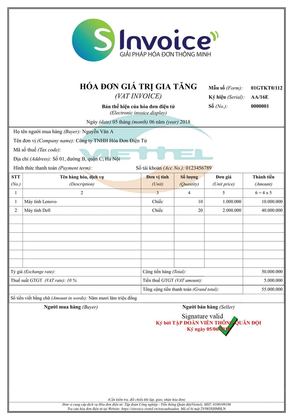 Mẫu hóa đơn điện tử Viettel 7