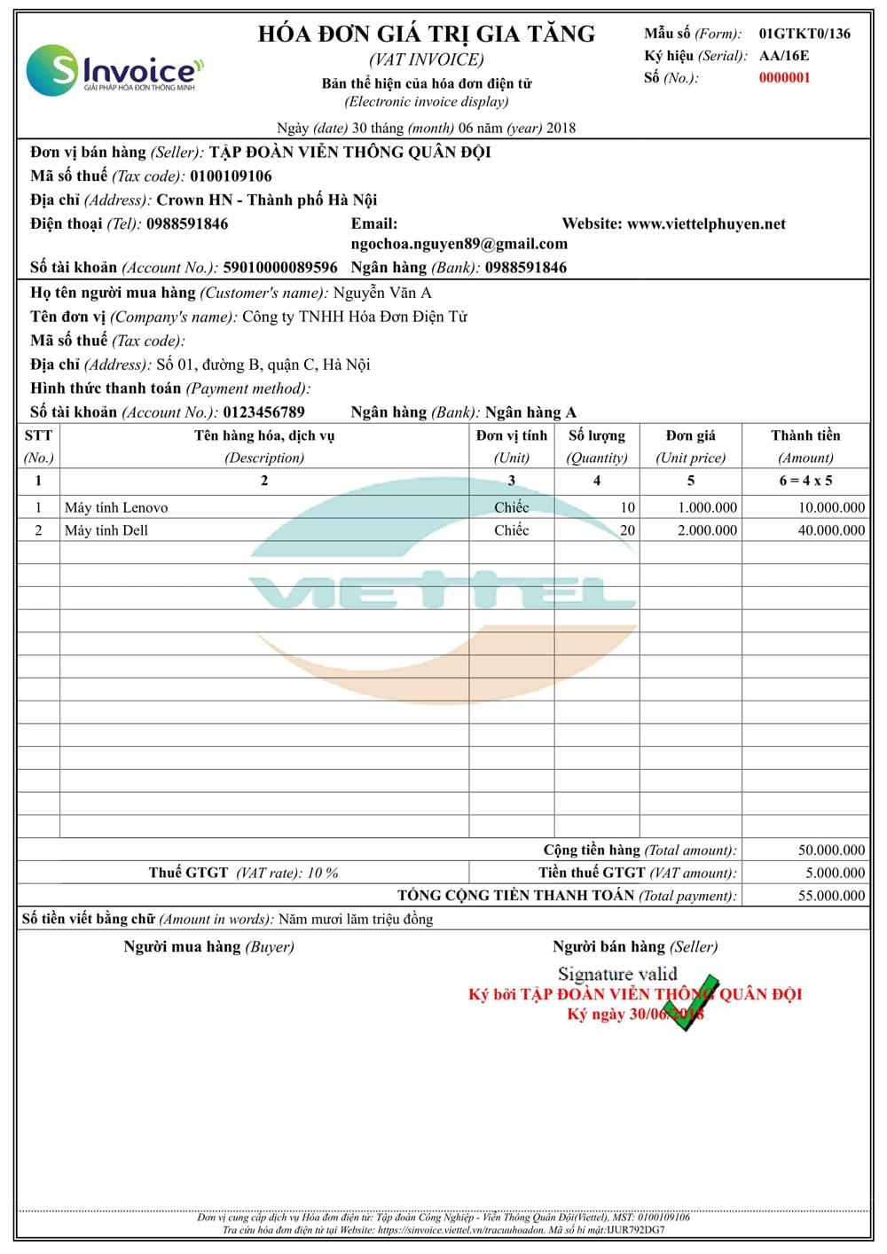 Mẫu hóa đơn điện tử Viettel 6