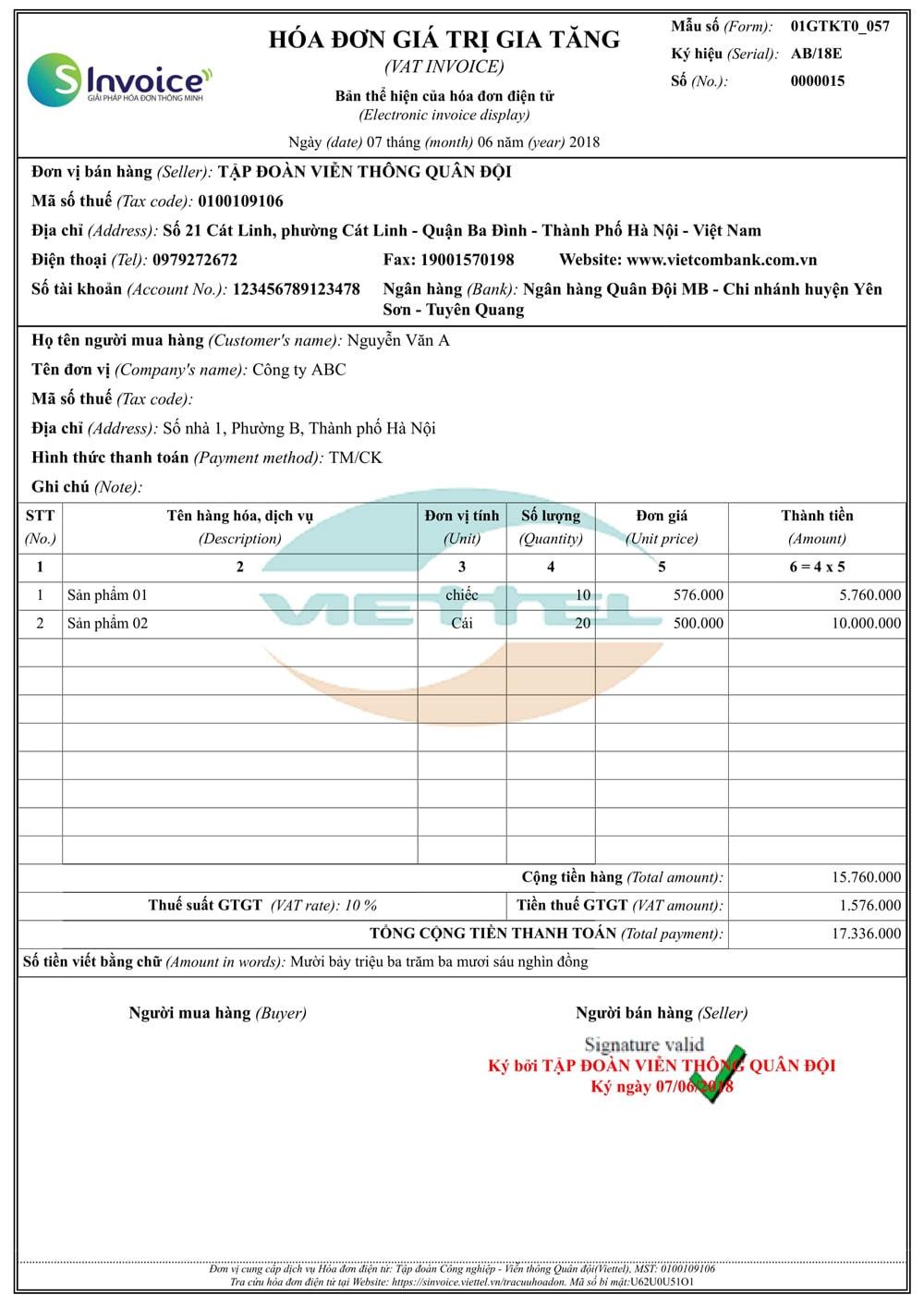Mẫu hóa đơn Viettel 3