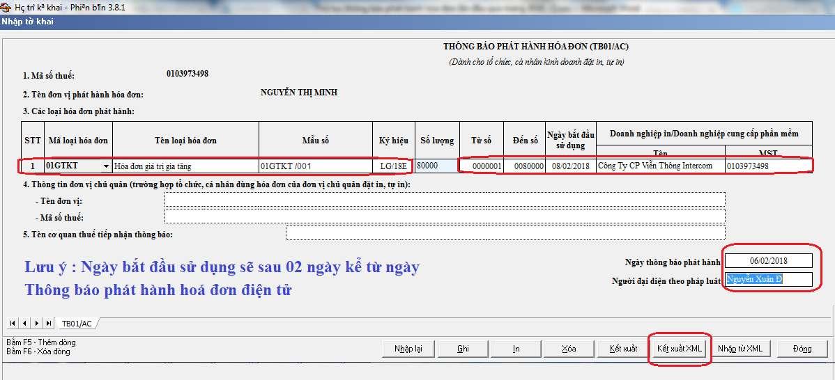 Lấy bản thông báo phát hành hóa đơn điện tử định dạng XML thông qua HTKK